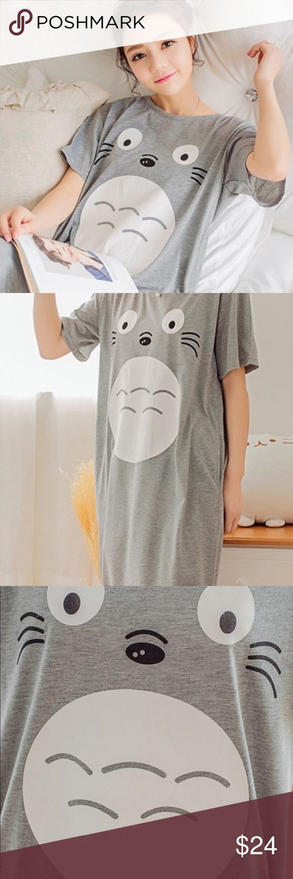 Totoro casual dress-loungewear Cute and comfy shorts sleeve long cotton blend dress -loungewear.Side slits at Calf  length. To roomie pockets. Every cosplayers favourite Miazaki character!  Wash inside out in cold water (with mild detergent) do not put in dryer !! shorten it to be worn as a tunic if you choose. Dresses Midi