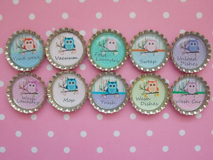 Owl Kids Chore Magnets Bottle Cap Magnets Personalized Magnets Set Of 10 #BoutiqueChicGallery