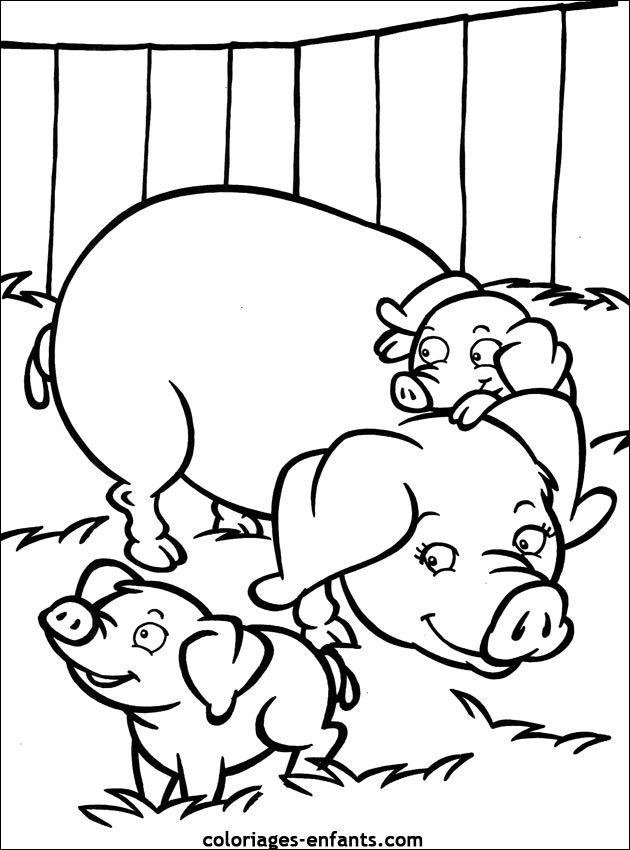 17 best images about boerderij kleurplaten on pinterest mandalas farm coloring pages and - Dessin cochon ...