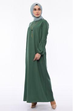 dc86268395107 Volanlı Elbise 3229-06 Haki | el yapımı | High Neck Dress, Dresses ...