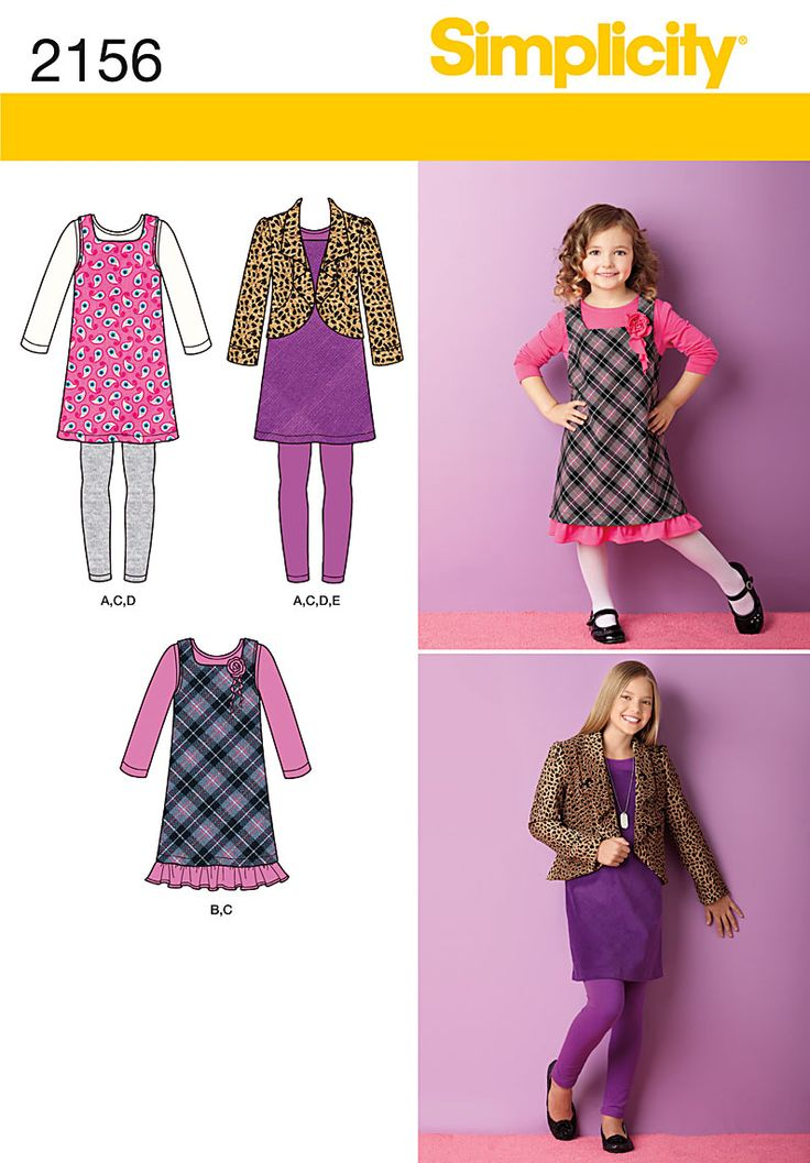 Simplicity 2156Spring 2013  Child's & Girls' Sportswear  Child's & Girl's jumper, jacket and knit leggings and dress or top sewing pattern. Size HH (3,4,5,6) and K5(7,8,10,12,14)