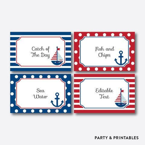 Nautical Food Labels / Editable / Instant Download (SBS.01)