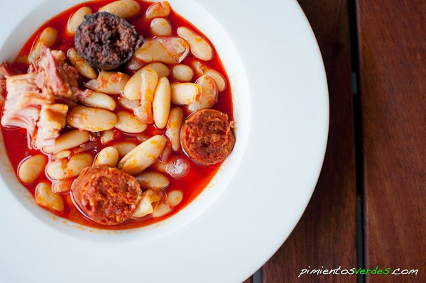 Fabada asturiana- a spicy meat and bean stew. (In Spanish)