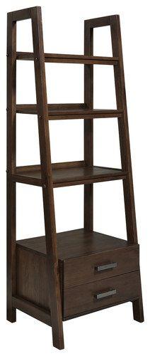 Simpli Home - Sawhorse Ladder Storage Shelf - Medium Saddle Brown