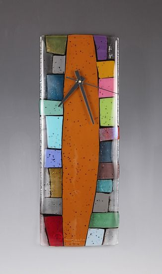 """Totem"" Art Glass Clock by Nina Cambron.: Art Clocks, Glasses Mosaics, Nina Cambron, Totems Art, Fused Glasses Clocks, Glasses Fused, Fused Glasses Art, Glasses Projects, Art Glasses"