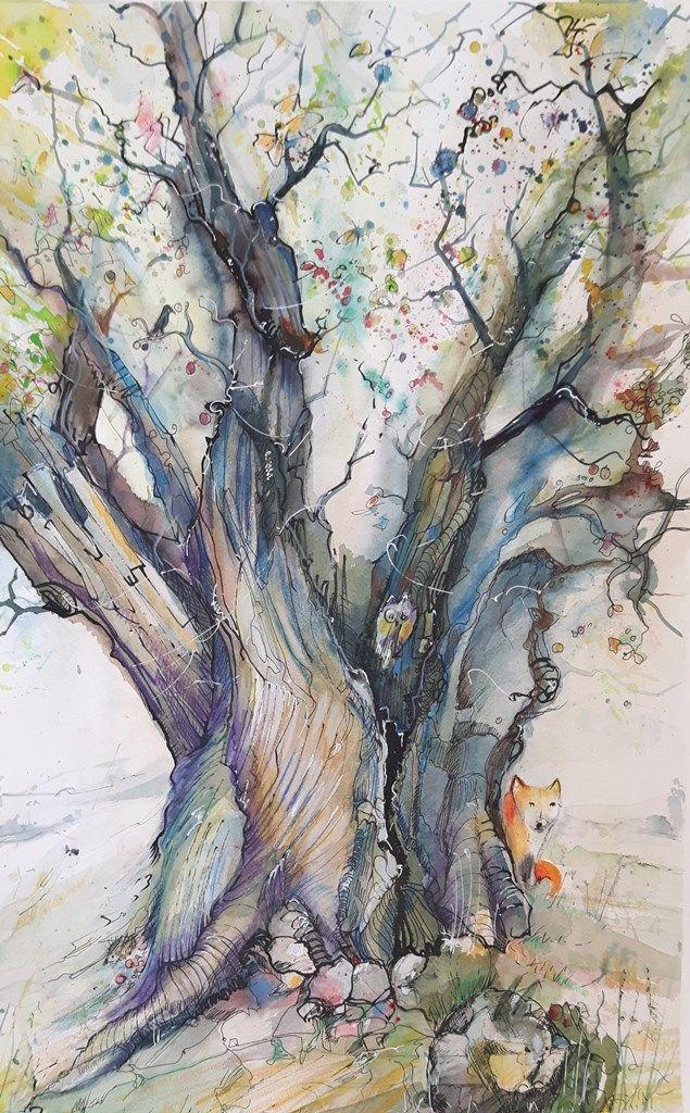 Ein Sterbender Baum Lebt In 2020 Aquarell Ideen Alte Baume