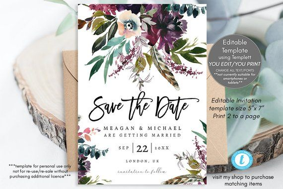 feather save the date invitation printable 5x7 editable save the date purple templett boho floral save the date template you edit