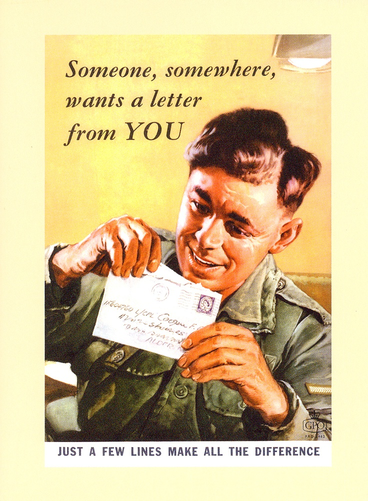"£2.50 - Greetings card - A poster from the series of General Post Office posters promoting the sending of letters in the early 1960s. Remember, ""just a few lines make all the difference""! This card features a soldier opening up a letter - available from http://www.postalheritage.org.uk/page/greetings-someonesoldier"