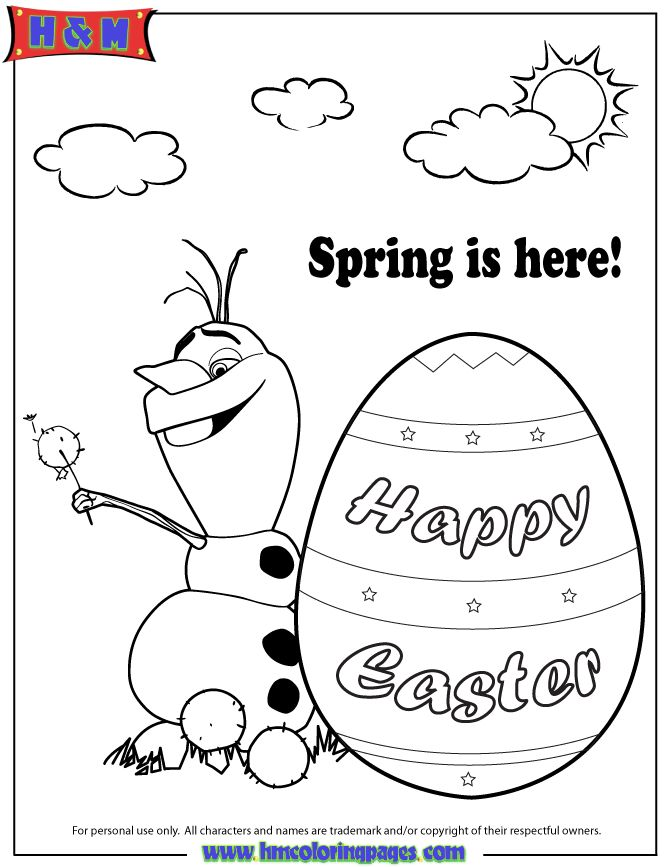 disney frozen coloring pages | Disney Frozen Olaf Spring Easter Coloring Page