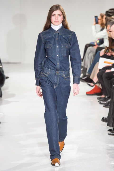 The invention of jeans incited jealousy even in the late, great Yves Saint Laurent, so it's no surprise that designers continue going to the denim well for inspiration. For Fall, that means double denim in crisp salvage, distressed black, fur lined, embroidered and more. Pictured: Calvin Klein