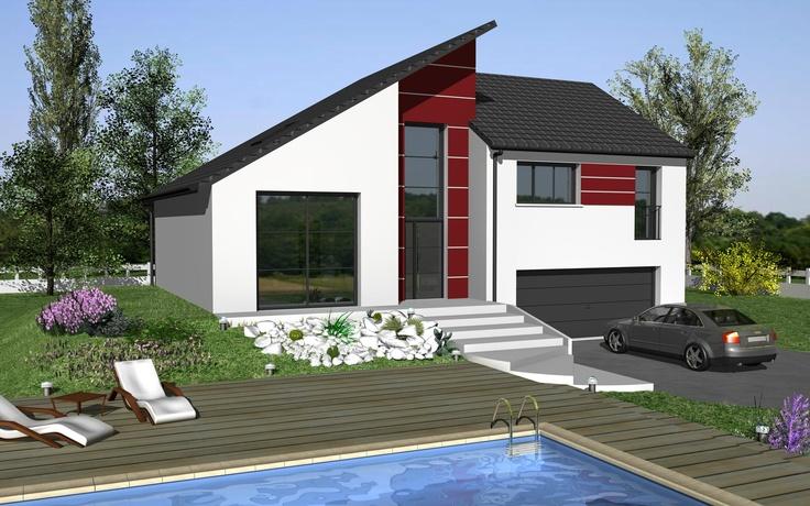 Elodie Design est un modèle de maison de style moderne. Elle possède 6 pièces pour une surface de 122 m². Gamme design - Maisons HCC