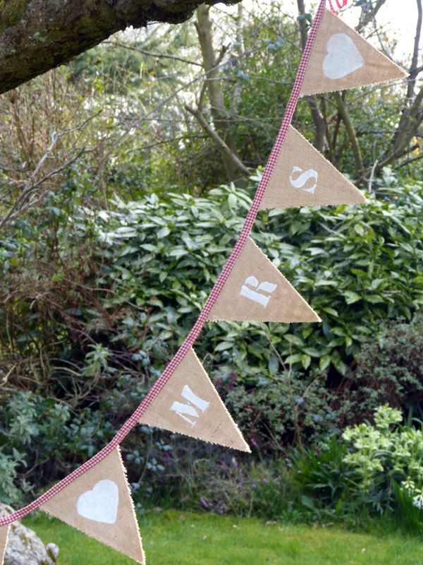 Hessian Mr and Mrs Bunting | The Vintage Bunting Hire CompanyThe Vintage Bunting Hire Company 260cm £39.50 to buy, also available to hire  from http://www.thevintagebuntinghirecompany.com