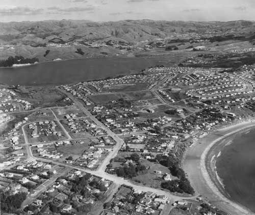 Aerial photo of Titahi Bay 1960s.