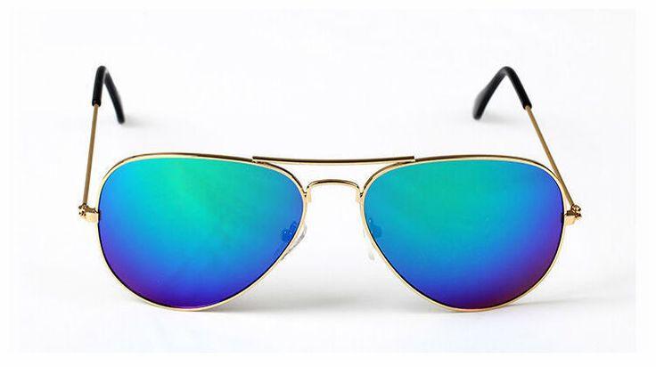 buy aviator sunglasses  Metal Gold Frame Mirrored Blue Pilot Sunglasses