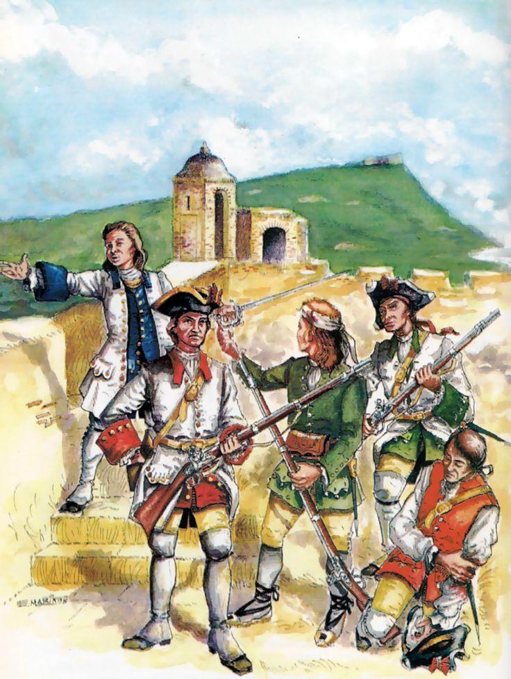 Spanish defenders during the Battle of Cartagena de Indias, War of Jenkins' Ear
