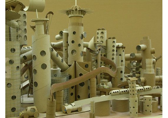 """Michel Gondry's Cardboard City from """"The Science of Sleep."""""""