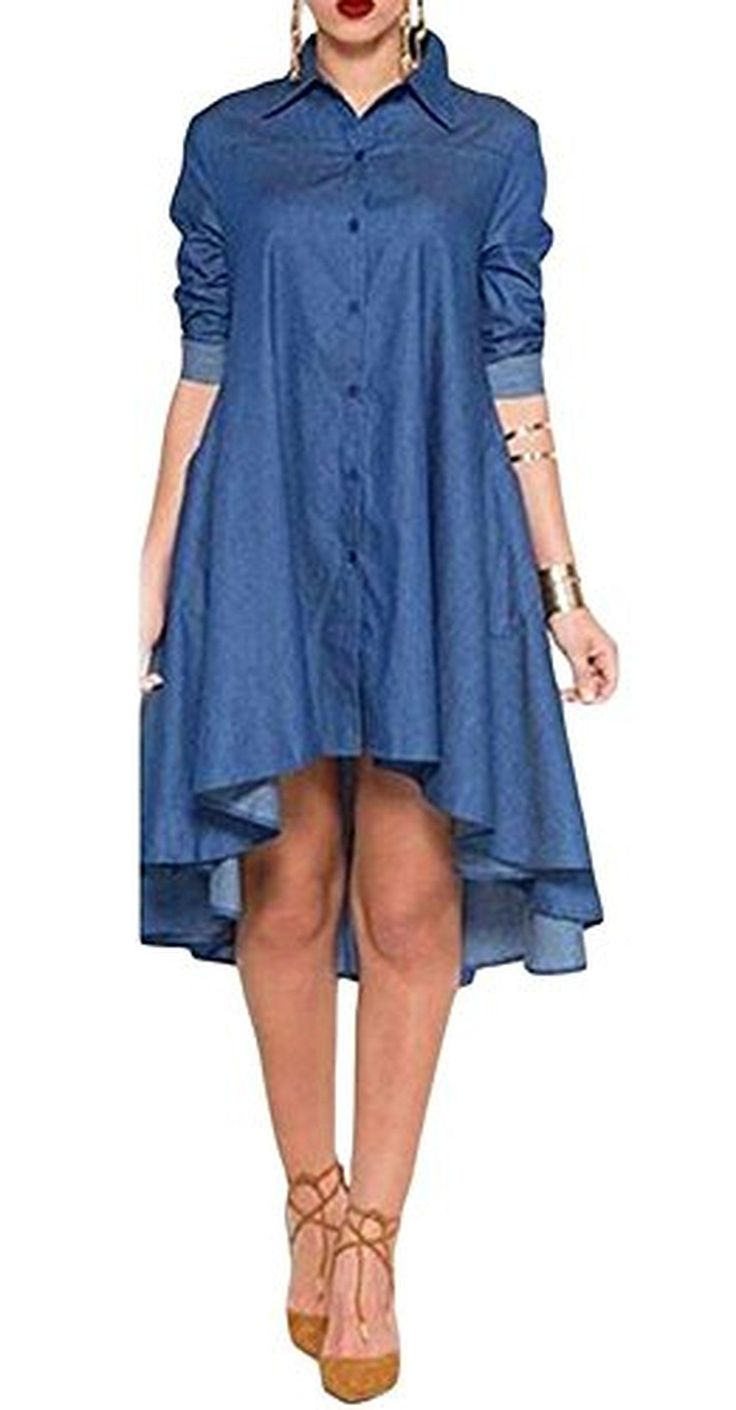 Kearia Womens Casual Long Sleeve High-low Irregular Hem Loose Jean Denim Shirt Dress Blue Small - Brought to you by Avarsha.com