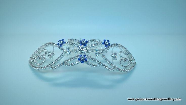 Blue Flower and Diamante Bridal Veil Comb