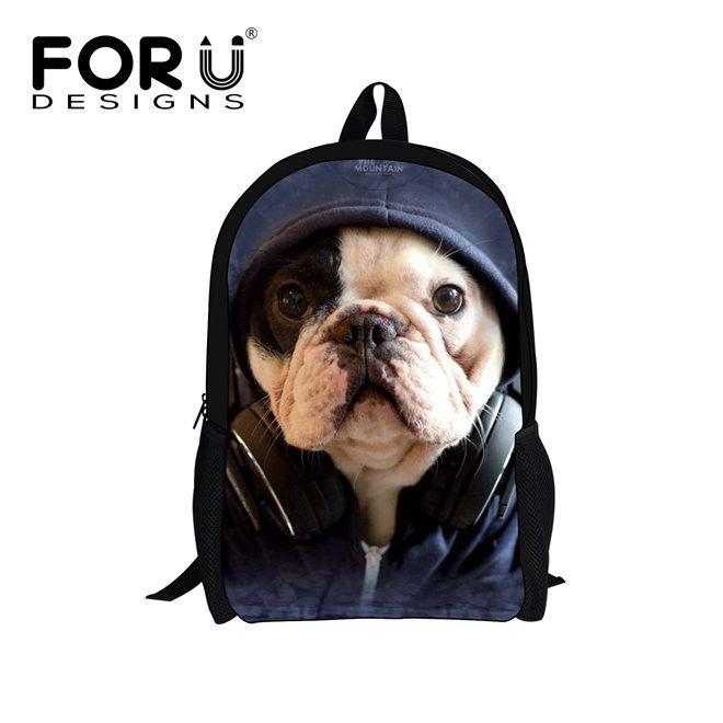 2016 Hot Sales Primary Backpack Black Cat Printing Backpacks for teenage Girls Children School Bags Pug Dog Bagpack Mochila Bag