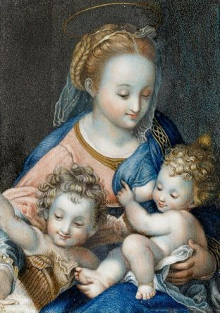 Partial copy of the painting by Federico Barocci (1526-1612), 1575,' Madonna del Gatto' from the National Gallery London, Watercolour on ivory.