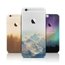 Fashion Thin Soft Silicone Mountain Back Cover Case For Apple iPhone SE 5s / 6 6s / Plus Case Transparent Back Cover For iPhone(China (Mainland))