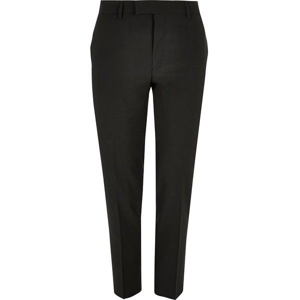 River Island Black skinny fit suit trousers ($52) ❤ liked on Polyvore featuring men's fashion, men's clothing, men's pants, men's dress pants, suits, mens stretch pants, mens skinny pants, mens skinny dress pants, mens tall pants and mens stretch dress pants