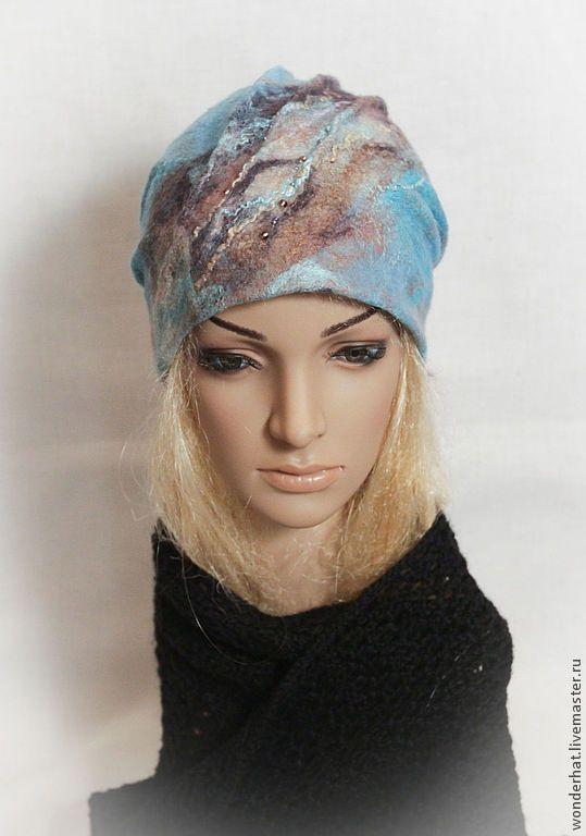 "Купить Шапочка ""Туманный берег"" - бирюзовый, коричневый, кофе, шапка, шапка зимняя, шапка женская"