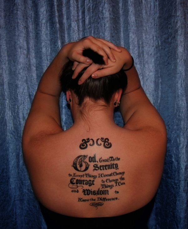 serenity prayer on back 20 Nice Serenity Prayer Tattoo Designs