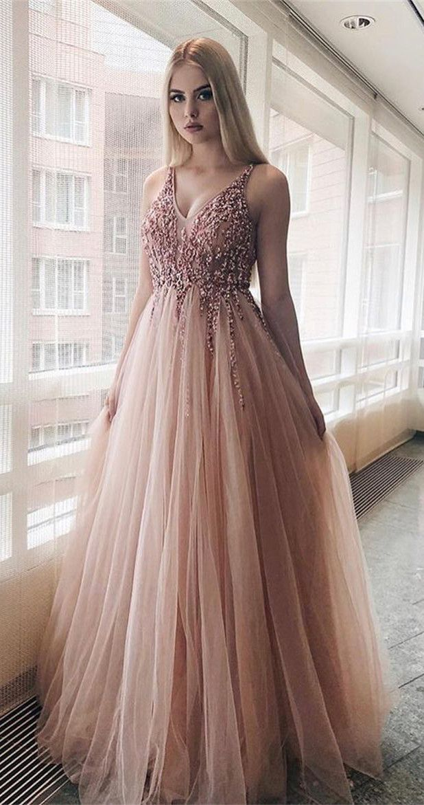dc8f229caa7f3 The material of this charming prom dress is tulle, which is featuring v-neck  neckline, backless style and floor-length skirt with sweep train in a-line  ...
