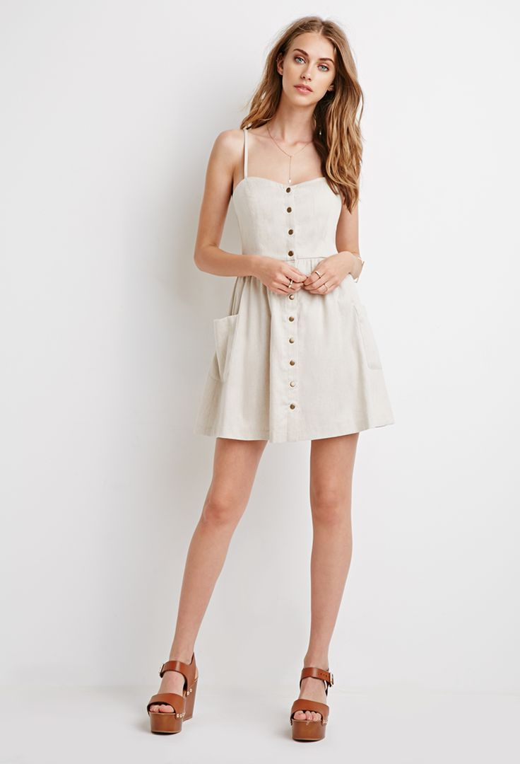 Buttoned Linen-Blend Dress | Forever 21 - 2000076927  I wanted this dress soo bad.. Broke college girl couldn't afford anything until the semester ended, and now it's gone. :(