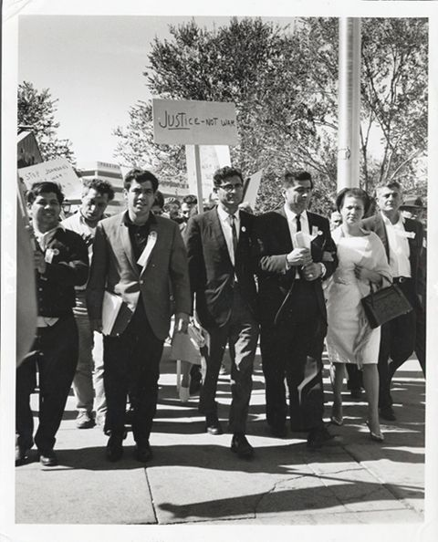 """Justice Not War,""  circa 1960s. This image of a Latino group protesting the Vietnam War made its way into the personal papers of Julian Nava.  Latino Cultural Heritage Digital Archives.Digital Archives, Julian Nava, Collection Pin, Csun Digital, Center Collection, Archives Center, Nava Collection, Latino Archives, Digital Collection"