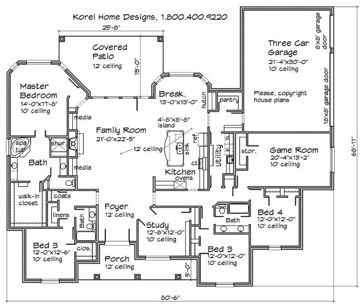 house plans by korel home designs bedroom to make into needlepoint room - Patio Home Designs