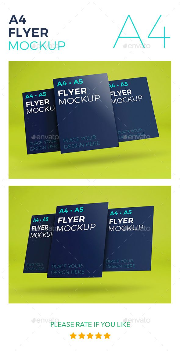 A4 Flyer Mockup Template for your design. Flyer Mockup easy changeable. Features: - Size A4 / 300dpi - 2 Photorealistic 3D Mockup- Fully Editable - High Resolution - Easy editing smart objects- Changeable background color Instruction: - Open PSD Mockup - Double click on smart-object layer - Past