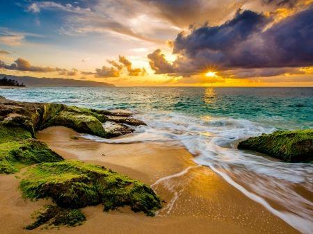 Trópusi Sunset, Hawaii - napnyugta, elhomályosul, horizont, tengerpart, természet, nap, kövek