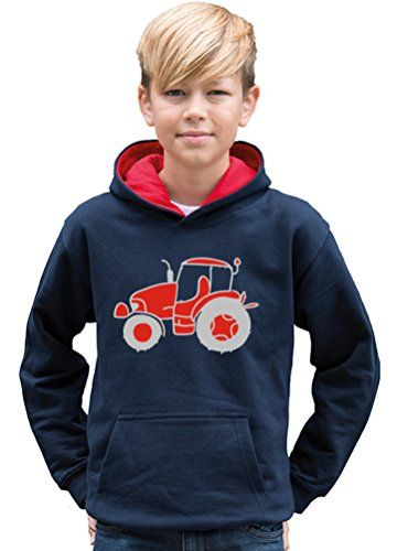 TWO TONE NAVY & RED HOODIE 'TRACTOR IMAGE ONLY' ' with Red & Silver print.