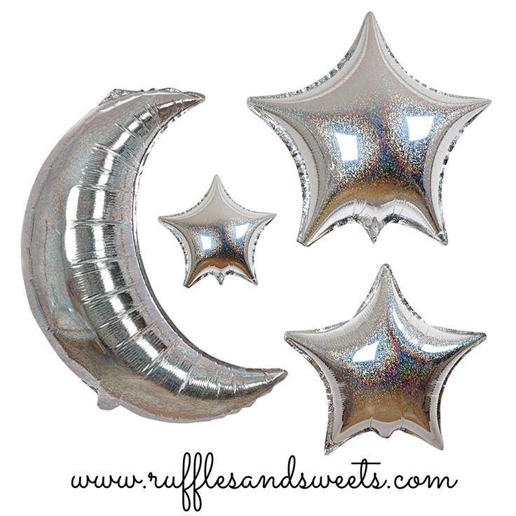 ***NEW*** Moon and stars balloons set. Sign up for your free rewards program, shop online or at the boutique. WWW.RUFFLESANDSWEETS.COM #rufflesandsweets #charmingpartysupplies #moon #stars #balloons #twinkletwinklelittlestarparty