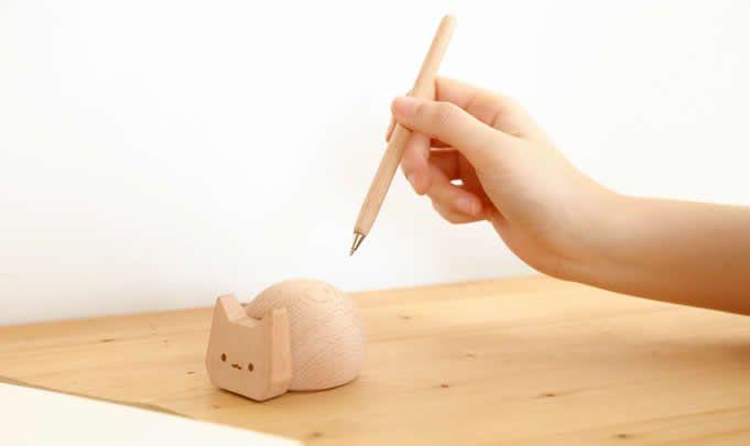 Cat Pen Holder Wooden Signing Pen Set