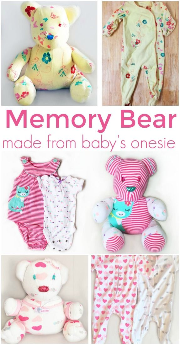 Memory Bear, Bear Sleeper Keepsake, Onesie Stuffed Animal ,Teddy Keepsake, Baby Onesie Plush, Teddy Onesie, Memory Stuffed Bear from onesie   affiliate