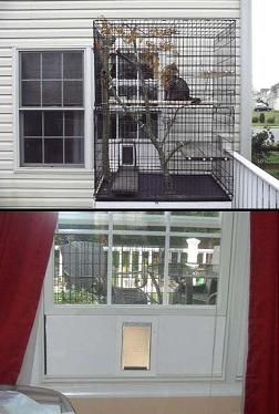 "Using a set of large dog kennels to make a ""catio"" - Maddie would never want to stay in the house"