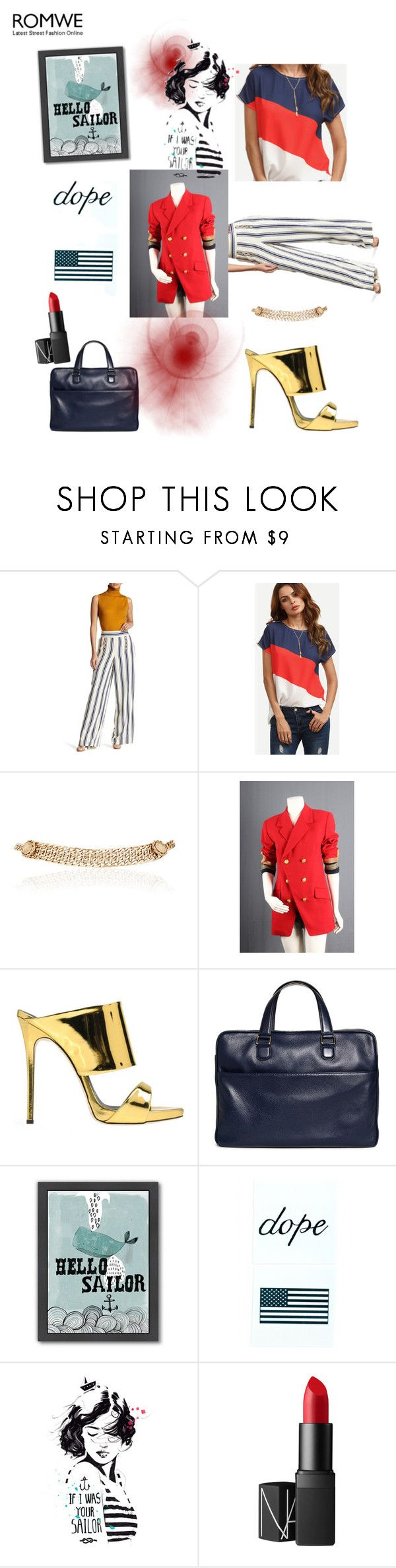 """""""If I was your Sailor"""" by scope-stilettos ❤ liked on Polyvore featuring 1.State, Maison Mayle, Giuseppe Zanotti, Brooks Brothers, Americanflat, Inked by Dani and NARS Cosmetics"""