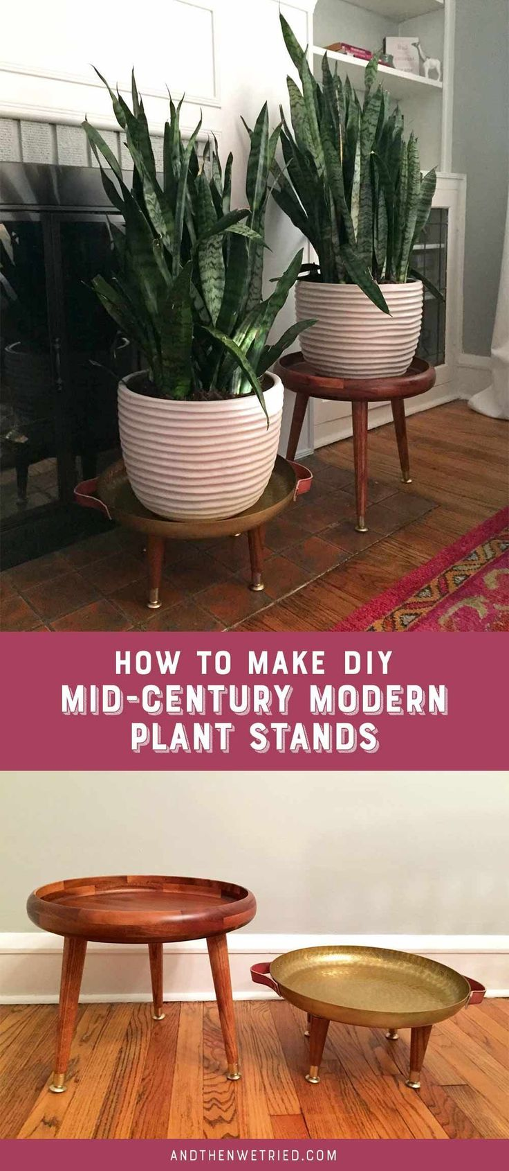 Learn how to make these easy DIY Mid-Century Modern Plant Stands with trays from Target! #modernfurnitureinterior