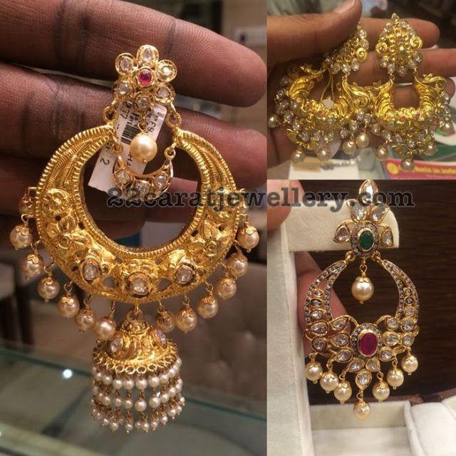 Chandbalis with Flat Diamonds - Jewellery Designs