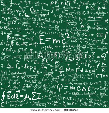 Blackboard with physical equations and formulas - vector illustration