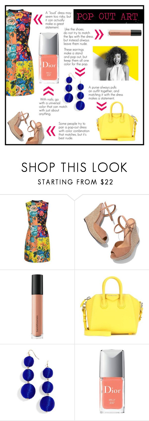 """""""Pop Out Art"""" by bookworm1445 on Polyvore featuring Diane Von Furstenberg, Schutz, Bare Escentuals, Givenchy, BaubleBar, Christian Dior and Paul Mitchell"""