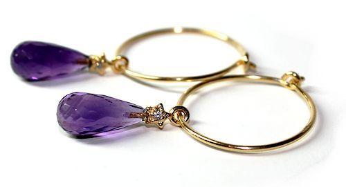 Golden Purple øredobber - Earrings  www.lissiedesign.no