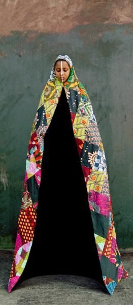 Adji Baifall Minaret, 2004, Lambda print, 200x90 cm. Her large colorful mantle, which I made with the help of other Sufi African women, consists of 99 individual pieces of hand-sewn fabric, representing the 99 names of God.