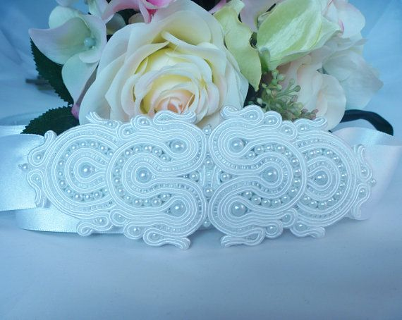White wedding Bridal Belt. Brides accessory in soutache and beads by MollyG Designs. Wedding accessory.