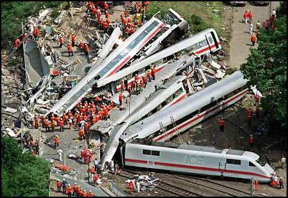IJune 3, 1998. The Eschede train disaster was the world's deadliest high-speed train accident. near the village of Eschede in the Celle district of Lower Saxony, Germany.  101 dead and approx. 88 injured.  A seemingly innocuous crack in one wheel causes a chain of events that lead to the train derailment.