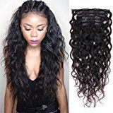 Natural Curly Clip in Human Hair Extensions for Black Women Natural Wave Real Human Remy Hair Clip in Extension for African American Natural Hair Extensions Clip ins 7Pcs/Set 120Gram (22inch)