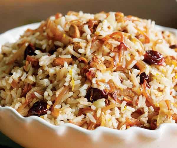 Rice Pilaf with Spiced Caramelized Onions, Orange, Cherry & Pistachio Recipe